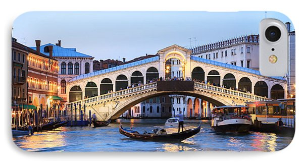 Gondola In Front Of Rialto Bridge At Dusk Venice Italy IPhone Case by Matteo Colombo