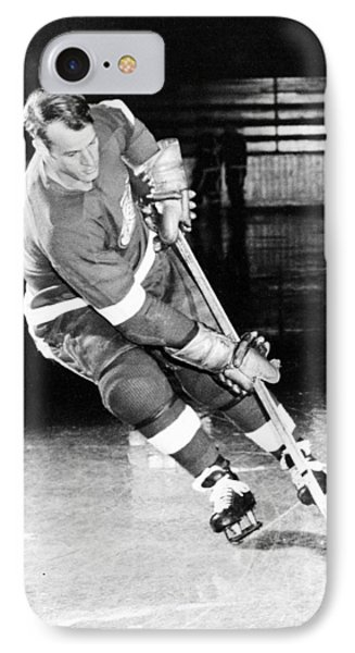 Gordie Howe Skating With The Puck IPhone Case by Gianfranco Weiss