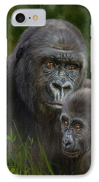 Gorilla And Baby IPhone Case by David Stribbling