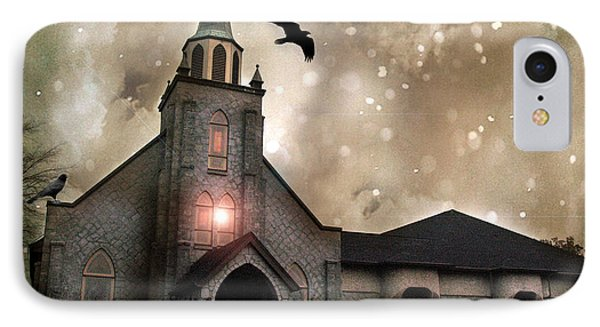 Gothic Surreal Haunted Church And Steeple With Crows And Ravens Flying  Phone Case by Kathy Fornal
