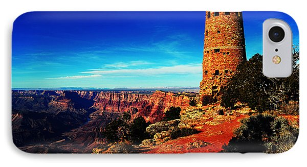 Grand Canyon National Park South Rim Mary Colter Designed Desert View Watchtower Vivid Phone Case by Shawn O'Brien