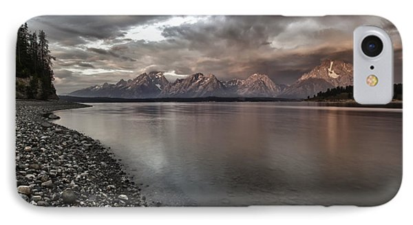 Grand Teton Mountain Range In  Grey And Pink Morning Sunlight Phone Case by Jo Ann Tomaselli