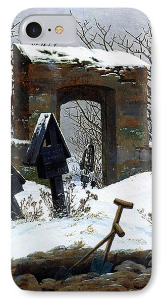 Graveyard Under Snow Phone Case by Philip Ralley