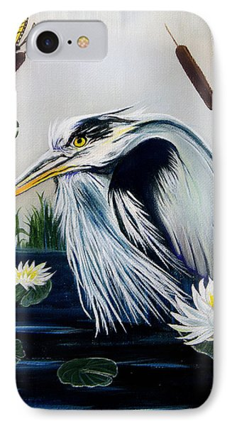 Great Blue Heron Happiness Phone Case by Adele Moscaritolo