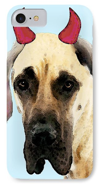 Great Dane Art - Ok Maybe I Did IPhone Case by Sharon Cummings