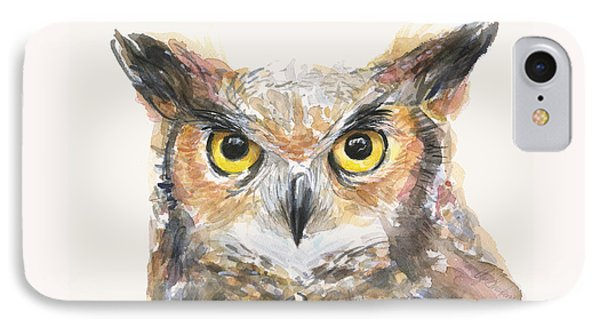 Great Horned Owl Watercolor IPhone 7 Case by Olga Shvartsur