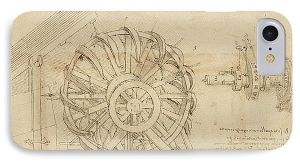 Great Sling Rotating On Horizontal Plane Great Wheel And Crossbows Devices From Atlantic Codex IPhone Case by Leonardo Da Vinci