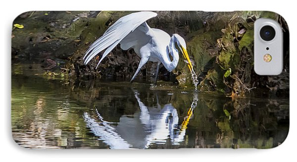 Great White Heron Fishing Phone Case by Charles Warren