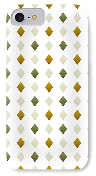Green And Gold Diamond Pattern IPhone Case by Christina Rollo