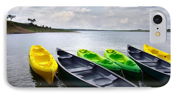 Green And Yellow Kayaks IPhone Case by Carlos Caetano