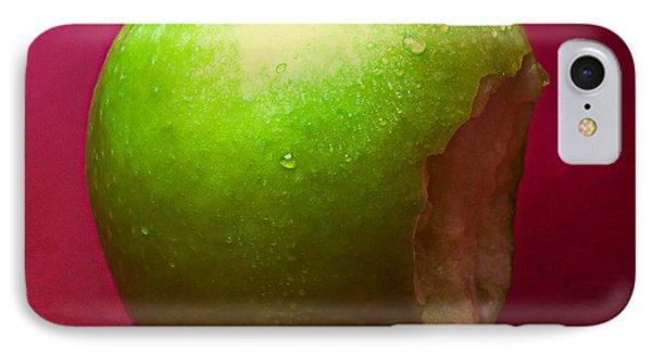 Green Apple Nibbled 1 IPhone Case by Alexander Senin