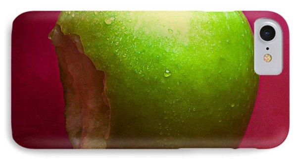 Green Apple Nibbled 2 IPhone Case by Alexander Senin