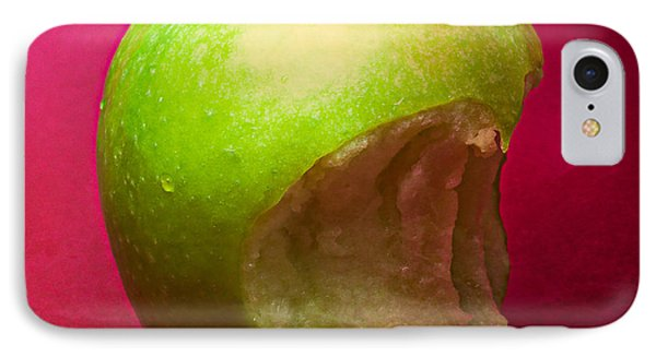 Green Apple Nibbled 3 IPhone Case by Alexander Senin
