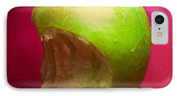 Green Apple Nibbled 4 IPhone Case by Alexander Senin