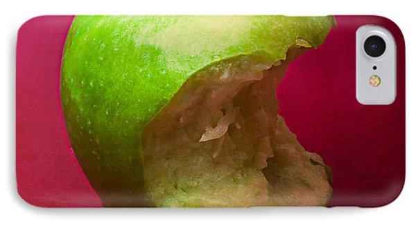 Green Apple Nibbled 5 IPhone Case by Alexander Senin