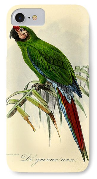 Green Parrot IPhone Case by J G Keulemans
