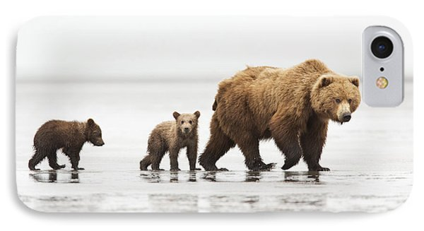 Grizzly Bear Mother And Cubs Lake Clark IPhone Case by Richard Garvey-Williams
