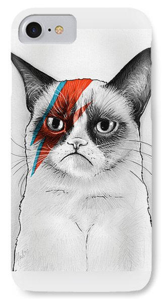 Grumpy Cat As David Bowie IPhone 7 Case by Olga Shvartsur