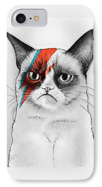 Grumpy Cat As David Bowie IPhone Case by Olga Shvartsur