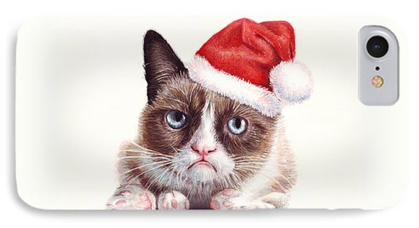 Grumpy Cat As Santa Phone Case by Olga Shvartsur