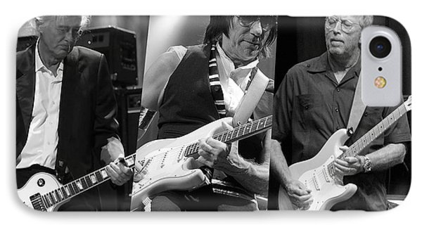 Guitar Legends Jimmy Page Jeff Beck And Eric Clapton IPhone Case by Marvin Blaine