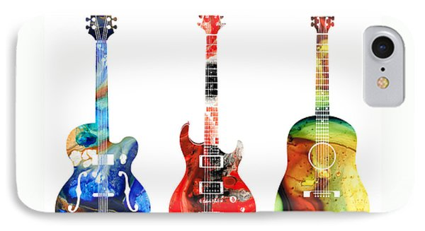 Guitar Threesome - Colorful Guitars By Sharon Cummings IPhone 7 Case by Sharon Cummings