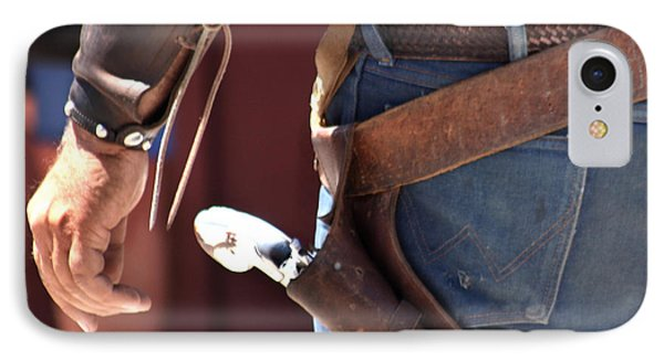 Gunfighter In Blue Phone Case by Art Block Collections
