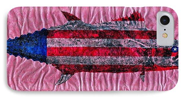 Gyotaku - American Spanish Mackerel - Flag Phone Case by Jeffrey Canha