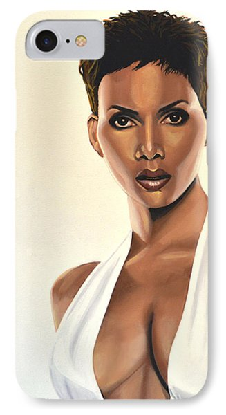 Halle Berry Painting IPhone 7 Case by Paul Meijering
