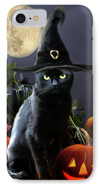 Witchy Black Halloween Cat IPhone 7 Case by Regina Femrite