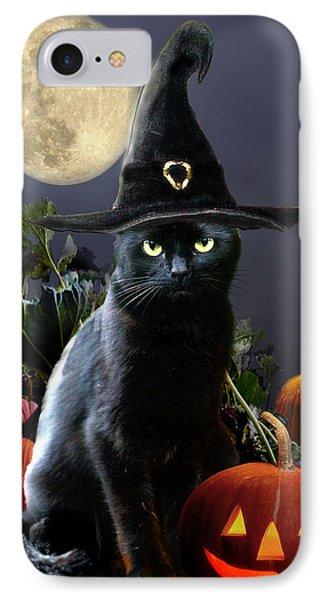 Witchy Black Halloween Cat IPhone Case by Regina Femrite