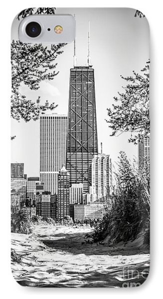 Hancock Building Through Trees Black And White Photo Phone Case by Paul Velgos