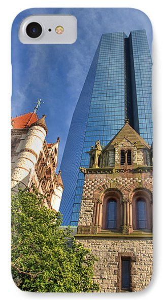 Hancock Tower Over Trinity Church IPhone Case by Joann Vitali