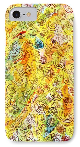 Hand-drawn Abstract Background With Spirals On Yellow Green Pink IPhone Case by Ion vincent DAnu