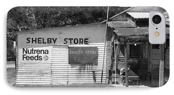 Handpainted Sign Shelby Store B W IPhone Case by Connie Fox