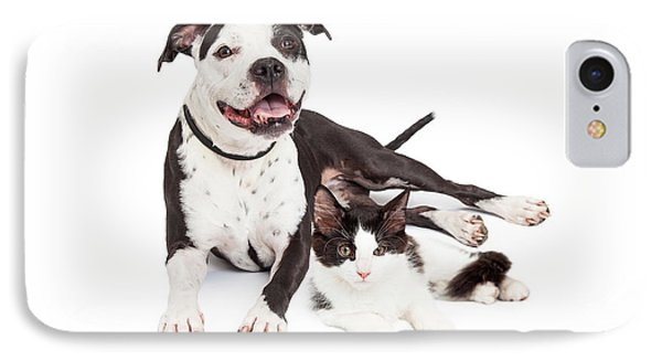 Happy Dog And Kitten Together IPhone Case by Susan Schmitz