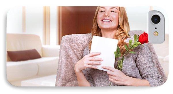 Happy Female Enjoying Greeting Card IPhone Case by Anna Omelchenko