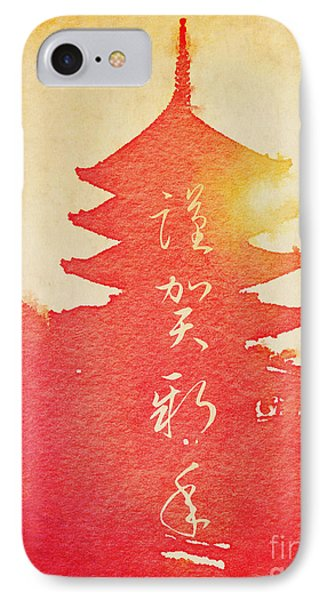 Happy New Year Vermillion Sunset Pagoda IPhone Case by Beverly Claire Kaiya