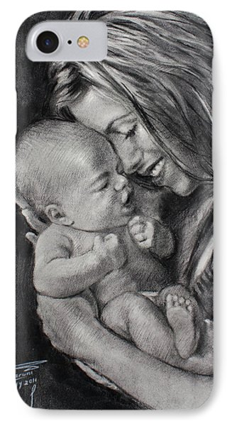 Happy Young Mother IPhone Case by Ylli Haruni
