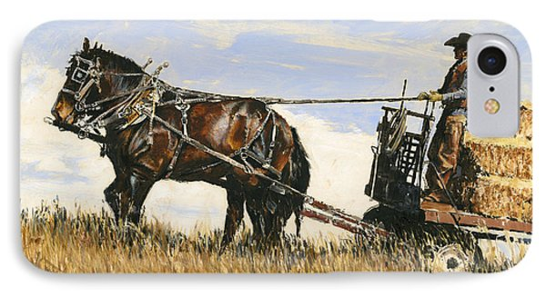 Hauling Hay IPhone Case by Don  Langeneckert