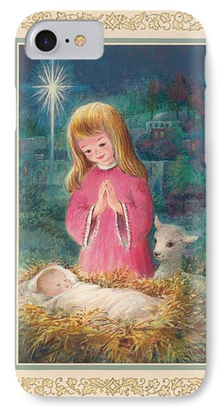 He Lay In A Manger Gouache IPhone Case by Stanley Cooke