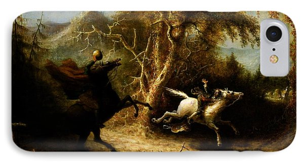 Headless Horseman Pursuing Ichabod Crane IPhone Case by Pg Reproductions