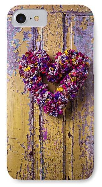 Heart Wreath On Yellow Door IPhone Case by Garry Gay