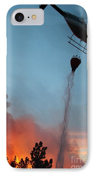 IPhone Case featuring the photograph Helicopter Drops Water On White Draw Fire by Bill Gabbert