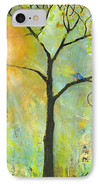 Hello Sunshine Tree Birds Sun Art Print IPhone Case by Blenda Studio