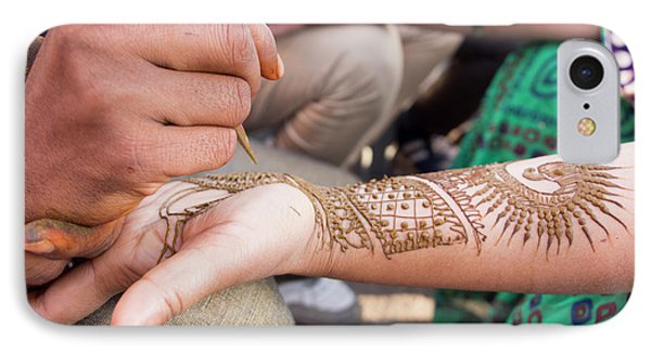 Henna Being Applied On Woman's Hand IPhone Case by David H. Wells