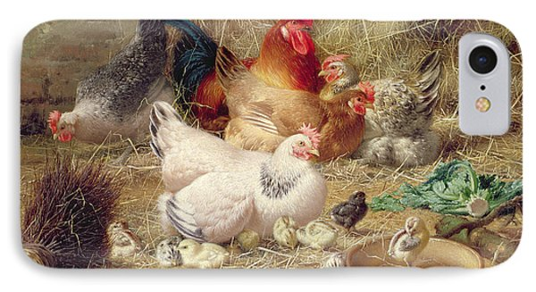 Hens Roosting With Their Chickens IPhone Case by Eugene Remy Maes