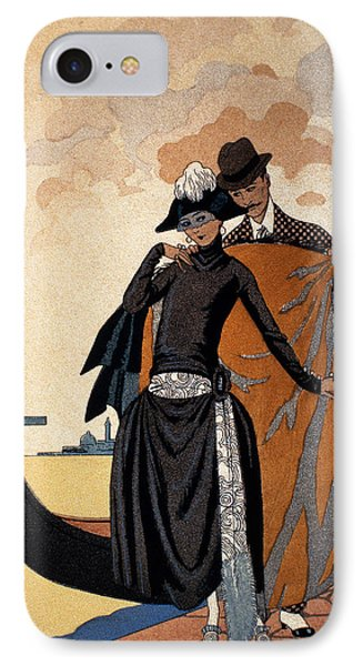 Her And Him Fashion Illustration IPhone Case by Georges Barbier