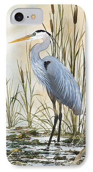 Heron And Cattails Phone Case by James Williamson