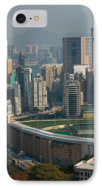 High Angle View Of A Horseracing Track IPhone Case by Panoramic Images